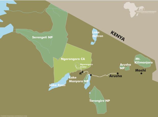 Lake Manyara & Ngorongoro map