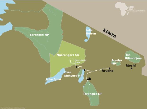 Tarangire & Ngorongoro map