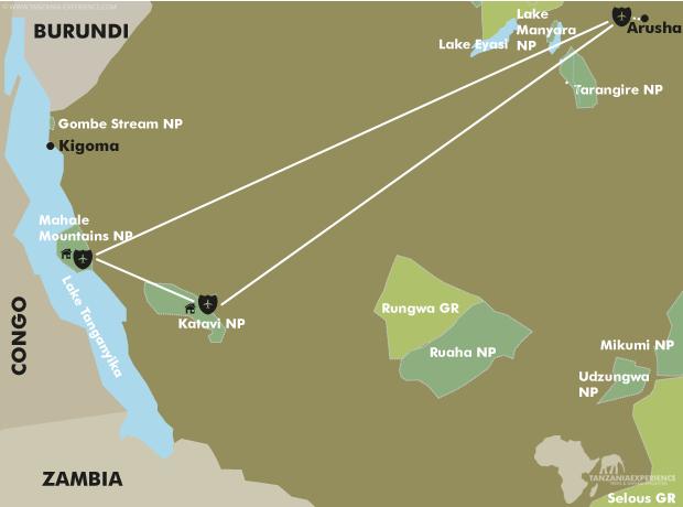Western Tanzania - One of Africa's best kept Secrets map