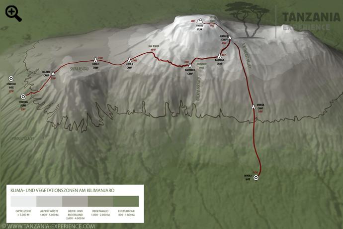 Kilimanjaro Lemosho Karte