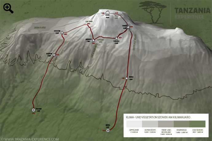 Kilimanjaro Machame Karte