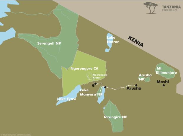 Lake Manyara und Ngorongoro Krater Karte