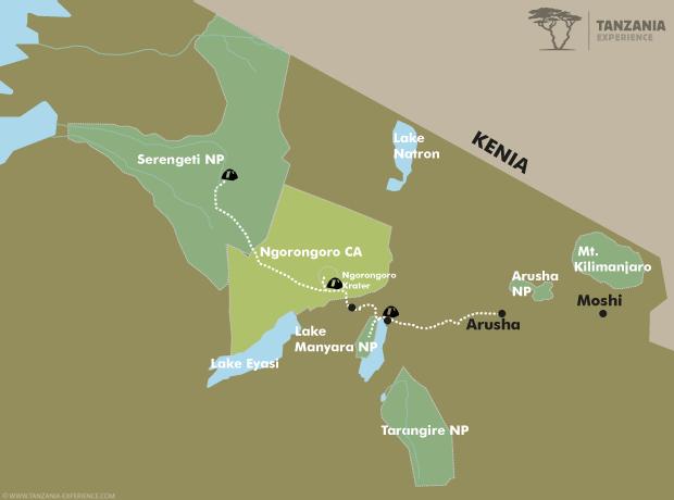 Tansania Entdecken Karte