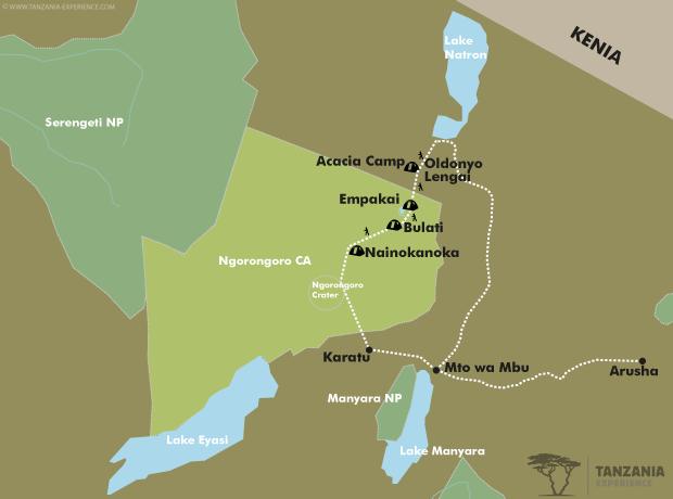 Ngorongoro Hochland trekking Karte