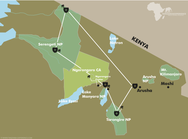 Tanzania Luxury Fly-In map