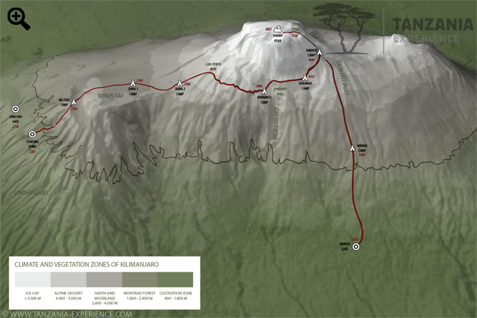 Kilimanjaro Lemosho map