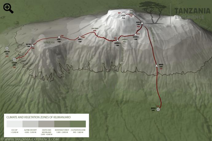 Kilimanjaro Lemosho map