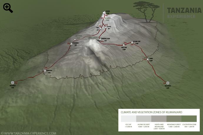 Kilimanjaro Rongai map