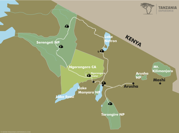 Tanzania – The Wild Side map