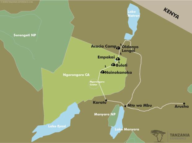 Ngorongoro Highlands trekking map